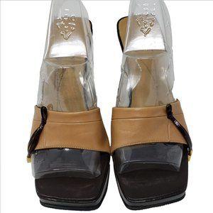 KATE SPADE Shoes - KATE SPADE Camel Color Leather Peep Toe Wedge Mule